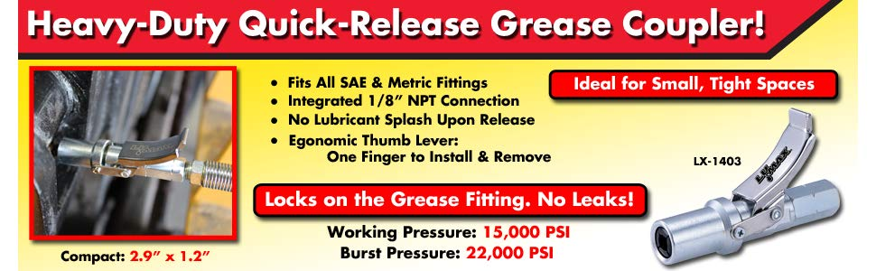 LuMax Heavy-Duty Quick-Release, Grease Coupler